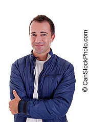 Portrait of a handsome middle-age man, on white background....