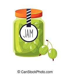 Sweet Gooseberry Green Jam Glass Jar Filled With Berry With...