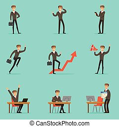 Businessman Work Process Set Of Business Related Scenes With...