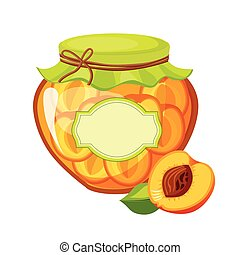 Sweet Apricot Orange Jam Glass Jar Filled With Fruit With...