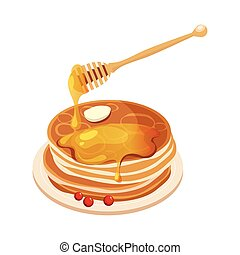 Pile Of Pancakes With Honey Dipper Cartoon Illustration....
