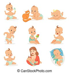 Adorable Happy Baby And His Daily Routine Set Of Cute...
