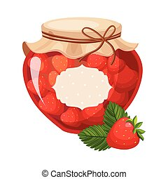 Sweet Strawberry Red Jam Glass Jar Filled With Berry With...