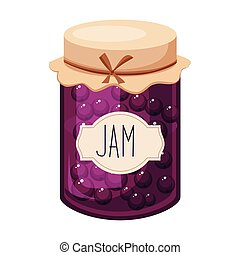 Sweet Black Currant Purple Jam Glass Jar Filled With Berry...