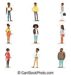 Afro-American Black People Street Style Clothing Set Of Cartoon Characters Standing
