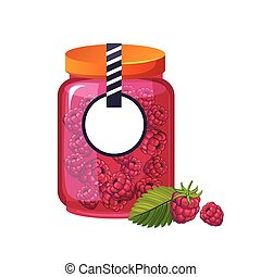 Sweet Raspberry Pink Jam Glass Jar Filled With Berry With...
