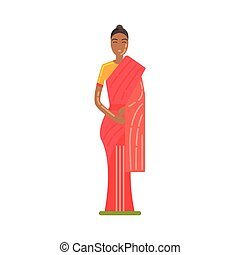 Woman In National Costume Wearing Red Sari, Famous...