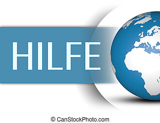 Hilfe - german word for help concept with globe on white...