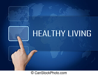 Healthy Living concept with interface and world map on blue...