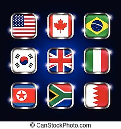 Set of world flags quadrangular glass buttons with steel border and twinkle ( USA . Canada . Brazil . South korea . United kingdom of great britain . Italy . North korea . South africa . Bahrain )