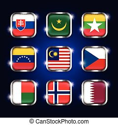 Set of world flags quadrangular glass buttons with steel...