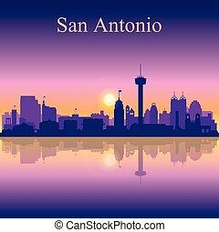 San Antonio silhouette on sunset background, vector...