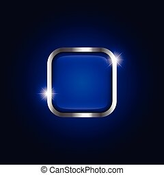 Metallic frame with sparkle on blue gradient background