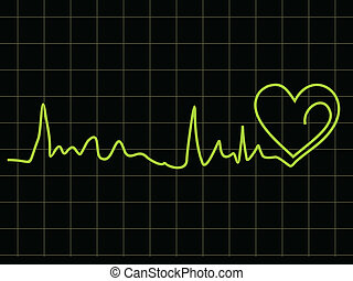 abstract heart beat chart with black background