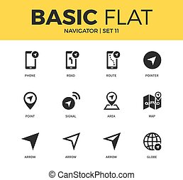 Basic set of Navigator icons - Basic set of route, map and...
