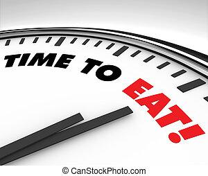 tiempo, comer, -, reloj