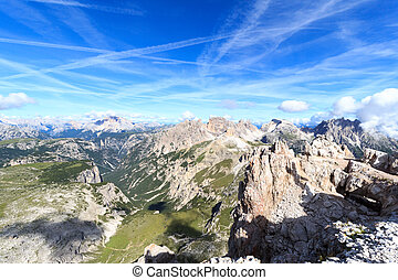 Sexten Dolomites mountain panorama in South Tyrol, Italy