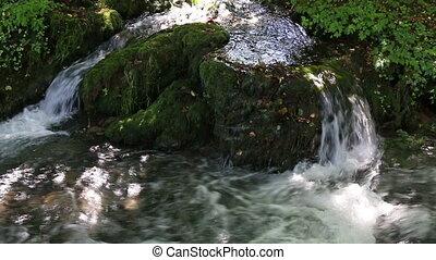 mountain water stream spring season