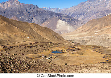 Landscape of Muktinath village in lower Mustang, Nepal.