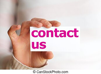 contact us or service concept with hand holding paper