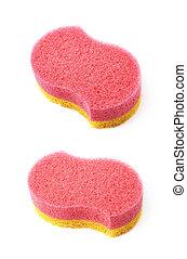 Bath sponge isolated - Red and yellow colored bath sponge...