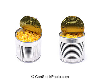 Canned corn in a tincan isolated over the white background,...