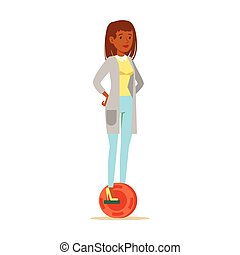 Woman In Cardigan And Jeans Riding Electric Self-Balancing...