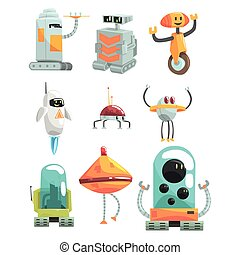 Different Design Public Service Robots Set Of Colorful...