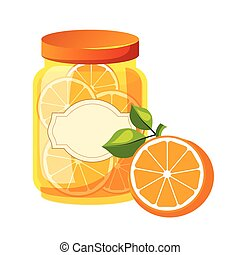 Sweet Citrus Orange Jam Glass Jar Filled With Fruit With...
