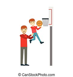 Boy And Father Playing Basketball, Happy Family Having Good Time Together Illustration