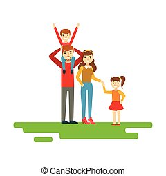 Parents And Kids Holding Hands In Park, Happy Family Having...