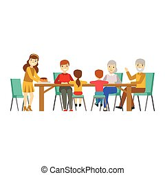 Happy Family Having Good Time Together Gathering And Eating Illustration