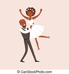Newlyweds Doing Dirty Dancing Finale At The Wedding Party...
