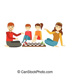 Parents And Kids Playing Chess, Happy Family Having Good Time Together Illustration