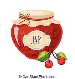 Sweet Cherry Red Jam Glass Jar Filled With Berry With...