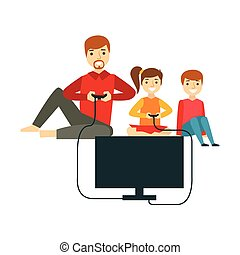 Father Playing Video Games With Kids, Happy Family Having Good Time Together Illustration