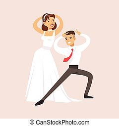 Newlyweds Doing Pulp Fiction Dance At The Wedding Party Scene