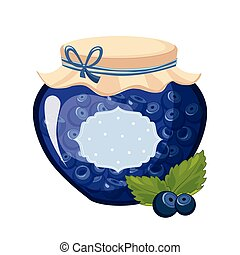 Sweet Blueberry Blue Jam Glass Jar Filled With Berry With...