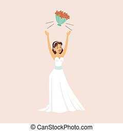 Bride Throwing Her Bridal Bouquet At The Wedding Party...