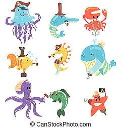 Marine Animals And Underwater Wildlife With Pirate And Sailor Accessories And Attributes Set Of Comic Cartoon Characters