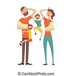 Tired Young Parents With two Babies And Two Older Sons,Part Of Family Members Series Of Cartoon Characters