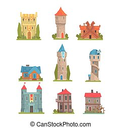 Old And Medieval Historical Buildings Collection Of European...
