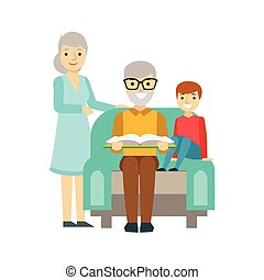 Grandparents And Boy Reading A Book, Happy Family Having...