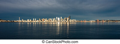 Seattle Skyline Reflections Panorama