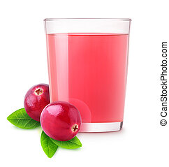 Isolated cranberry water. Glass of vitamin cranberry drink...