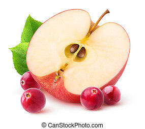 Isolated apple and cranberries. Half of red apple fruit and...