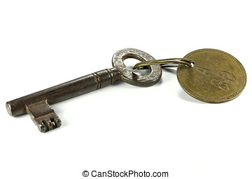 hotel key - vintage hotel key isolated on white background