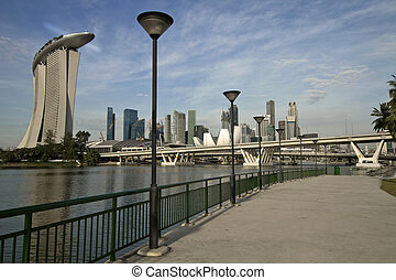 Singapore Skyline at the Esplanade - Singapore City Skyline...