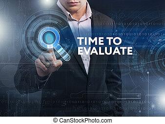 trabajando, tableta, empresa / negocio, evaluar, concepto,...
