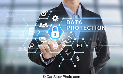 Businessman hand pressing button Data Protection. sign on virtual screen. business security concept.
